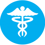 Universal Medical Symbol with blue background