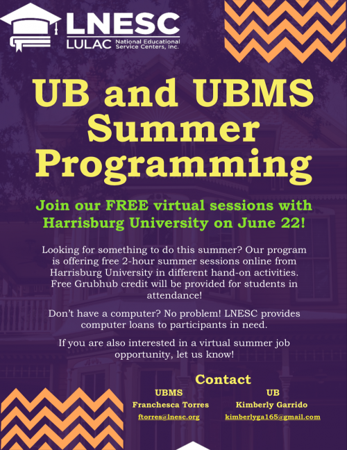 UB and UBMS Summer Programming Flyer english