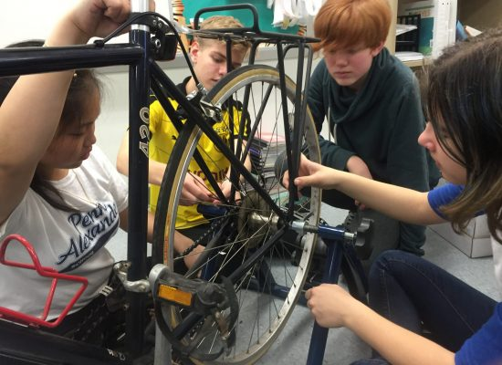 students and science project using bike